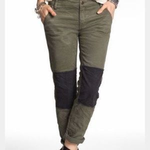 FREE PEOPLE Olive Green Skinny Utility Jeans Patch